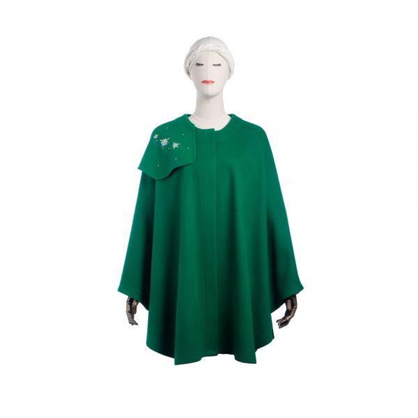 DIONA - smaragdgrünes Cape mit Stickerei - Vorderansicht